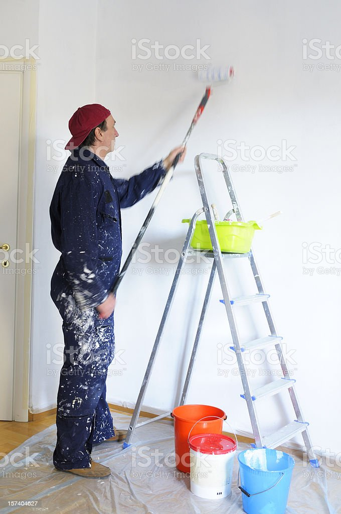 House Painter Moving Paint Roller royalty-free stock photo