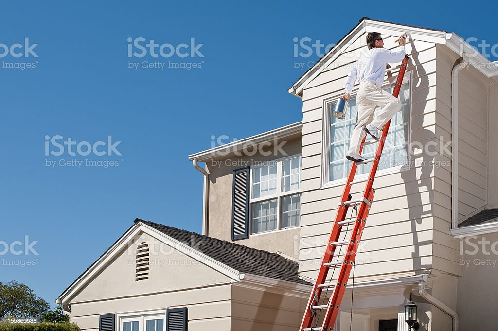 House Painter With Paint Brush stock photo