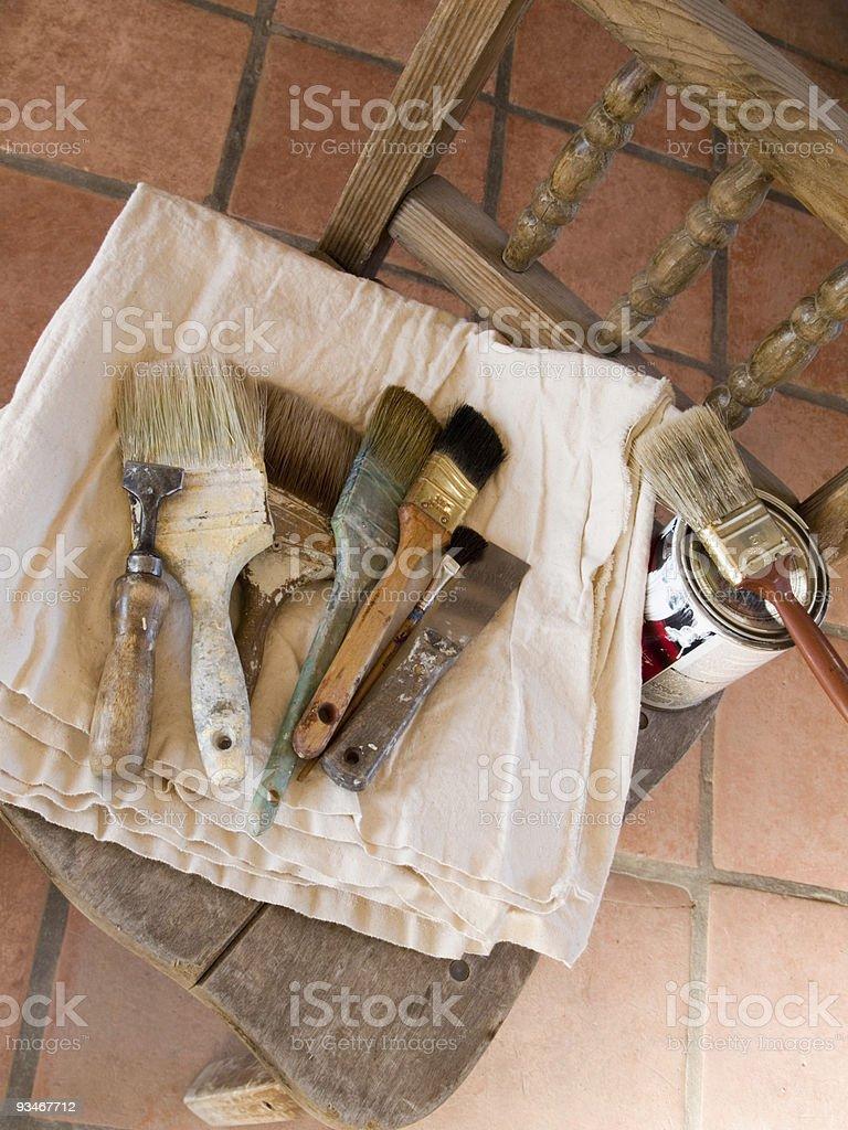 House painter's paintbrushes stock photo