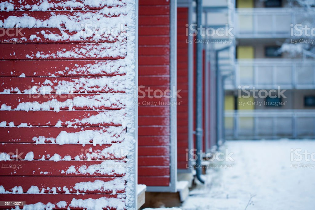 House panel in winter stock photo