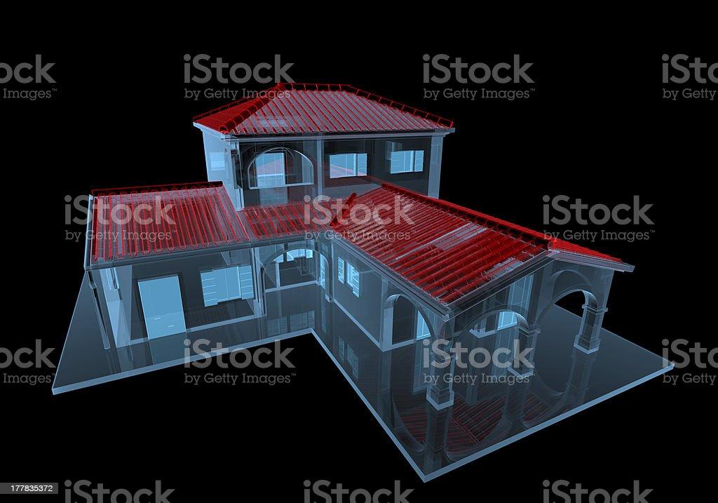 House (3D xray blue transparent) royalty-free stock photo