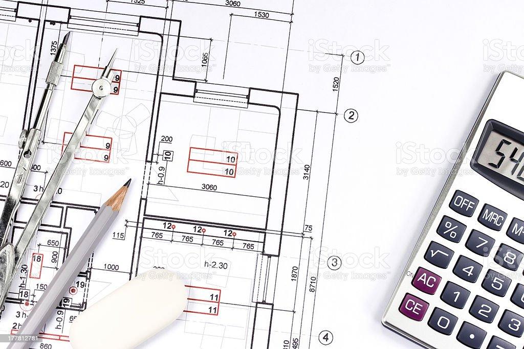 House plan blueprint royalty-free stock photo