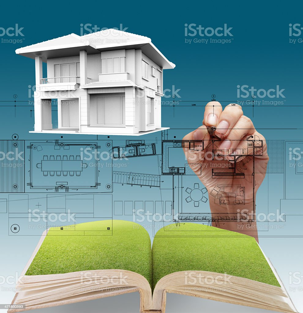 House plan blueprints royalty-free stock photo