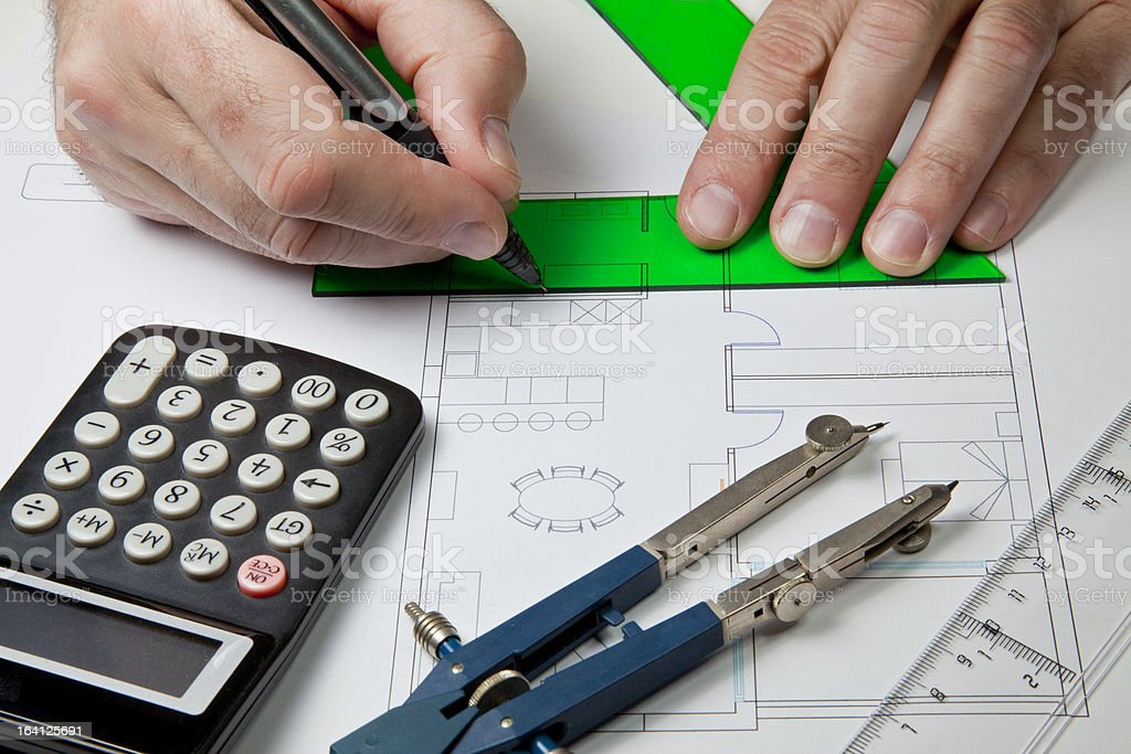 House plan drawing royalty-free stock photo