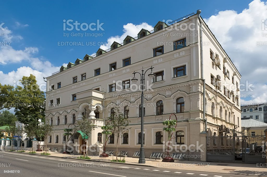 House prichta of the temple of St. Nicholas in Pyzhi stock photo