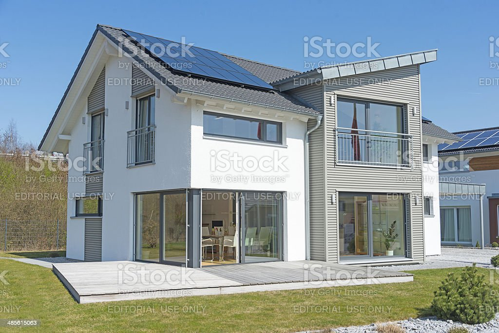 house real estate home with garden meadow - Einfamilienhaus stock photo