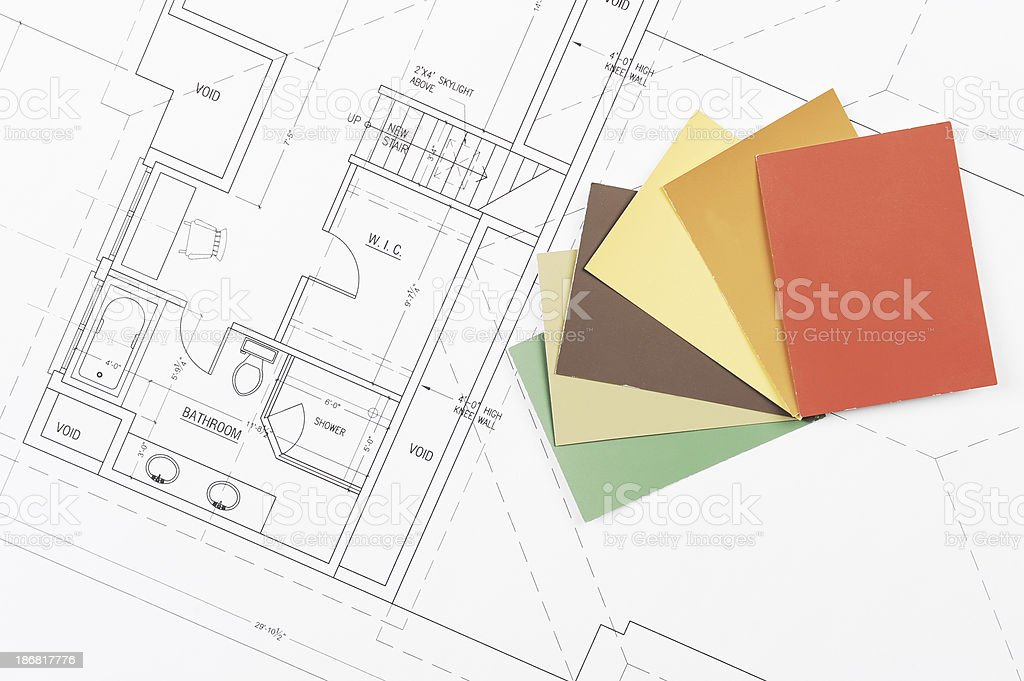 house renovation blueprint royalty-free stock photo