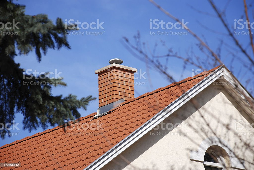house roof and smoke stack royalty-free stock photo