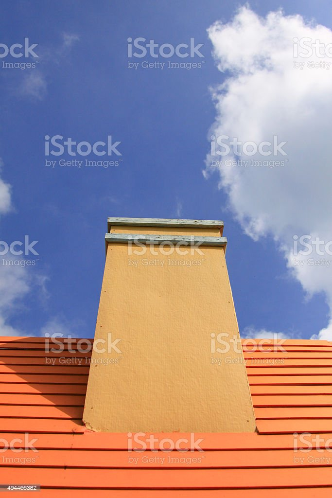 House roof with chimney stock photo