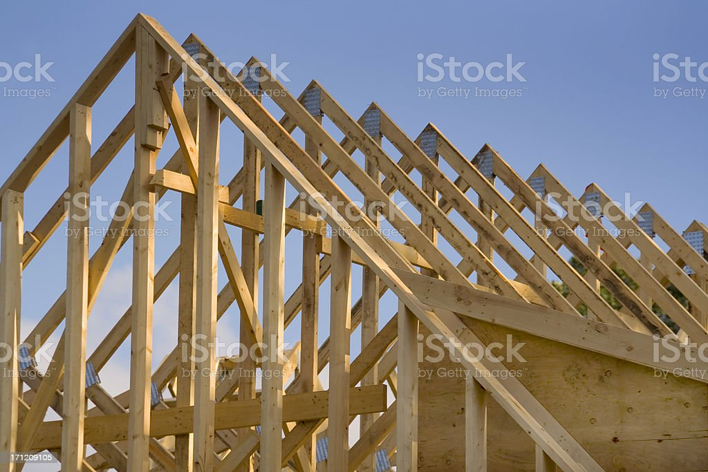House Roof Wood Rafters, a Construction Frame of Building Industry stock photo
