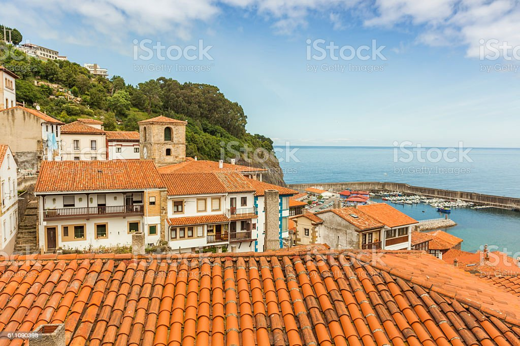 House roofs of Lastres sailor coastal village in Asturias, Spain stock photo