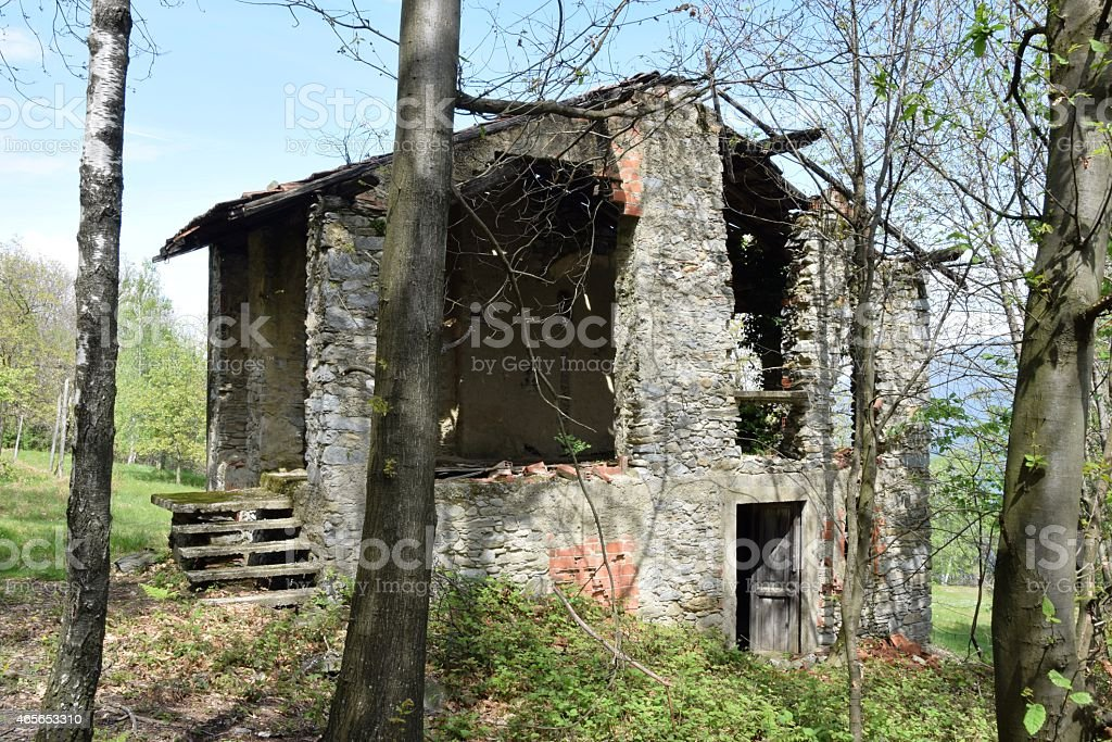 House, ruin in the Alps stock photo