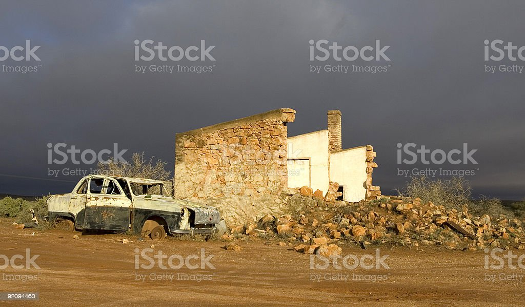House ruins in outback Silverton, Australia royalty-free stock photo