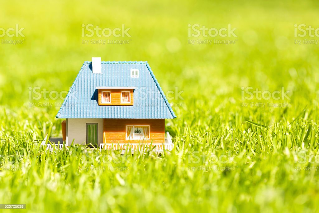 house scale model on green grass with copy space stock photo