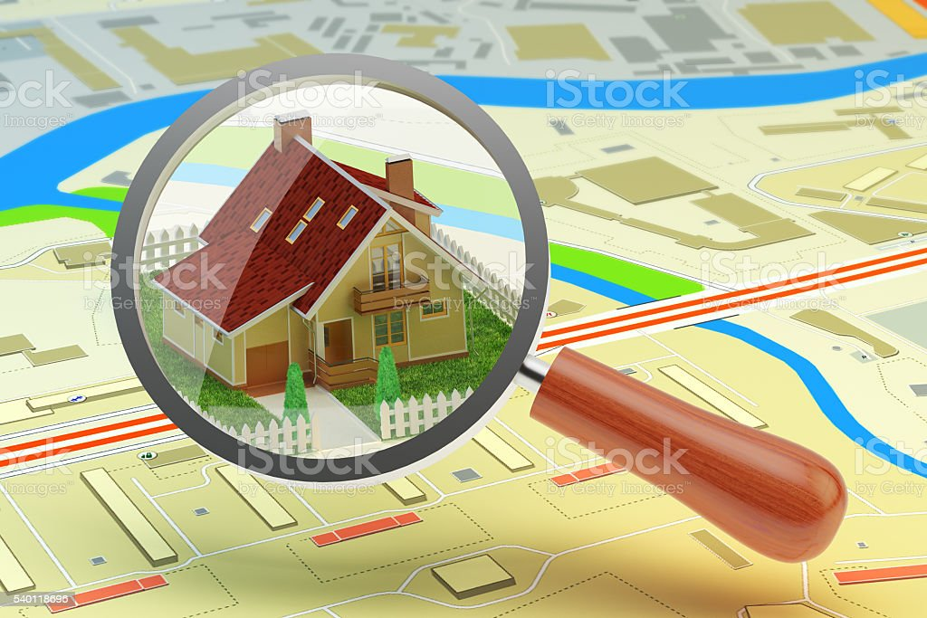 House searching for buy or rent concept, real estate agent stock photo