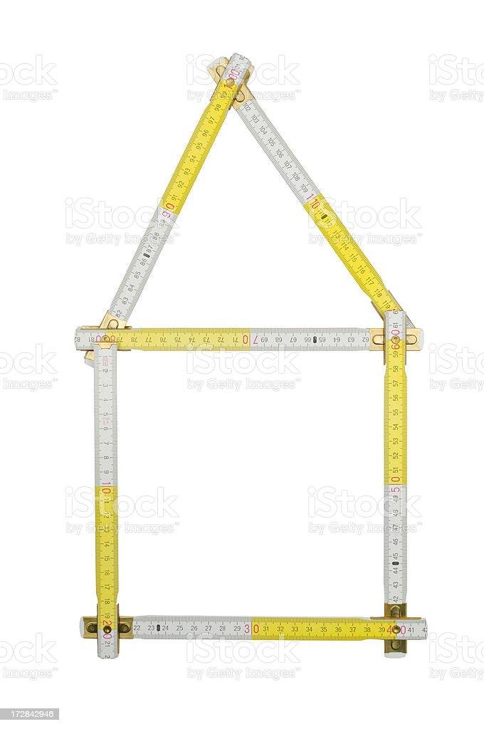 House shape folding ruler stock photo