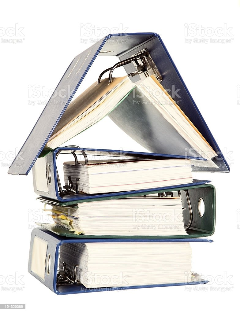 House shape made from many business documents royalty-free stock photo
