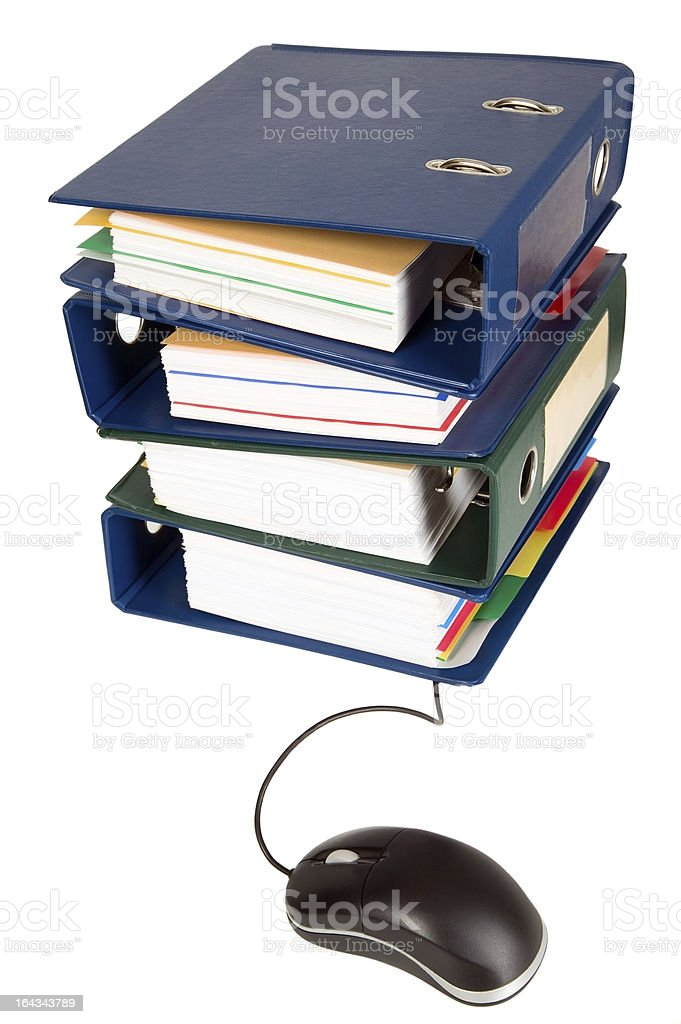 House shape made from many business documents stock photo