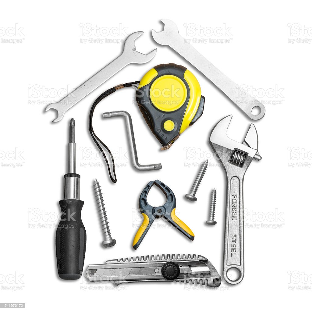 house shape made out of work tools stock photo