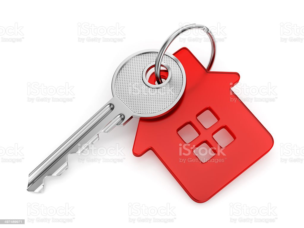House shaped key-chain stock photo