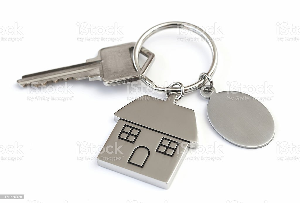 House shaped keychain with blank tag royalty-free stock photo