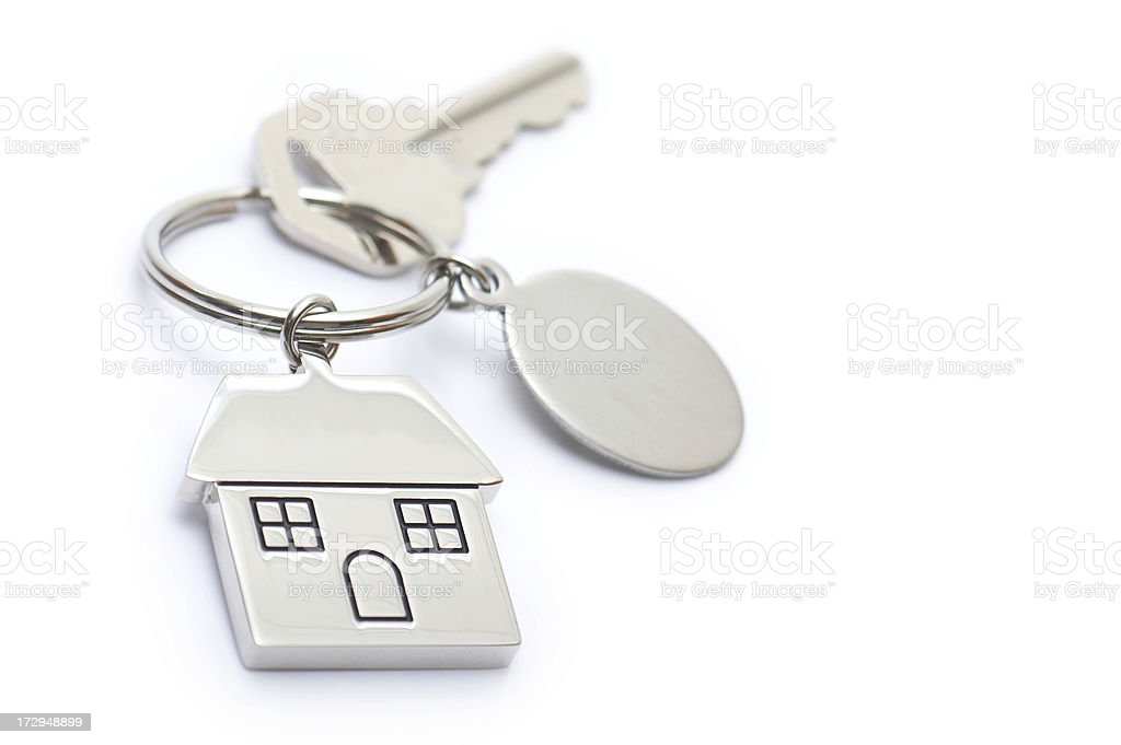 House shaped keychain with blank tag stock photo