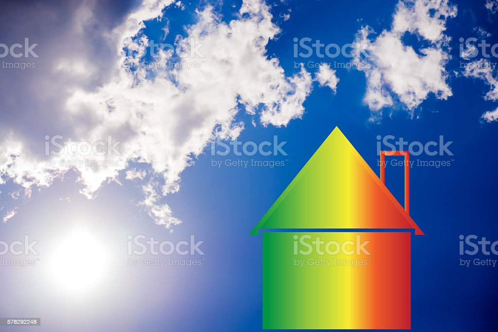 house  showing energy efficiency, Solar Energy, energetic cerifi stock photo