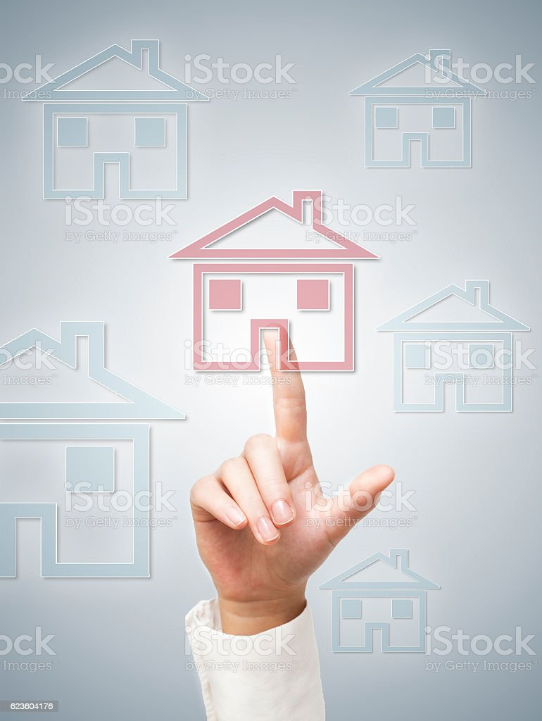 House sign / Touch screen concept (Click for more) stock photo