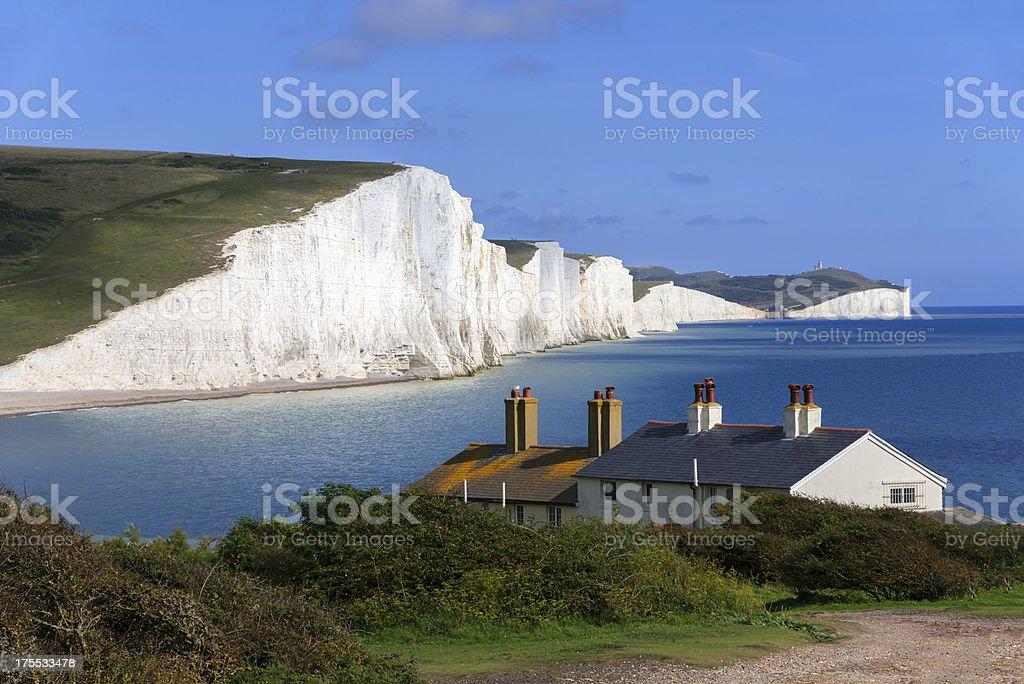 A house sits nestled along the coastline stock photo