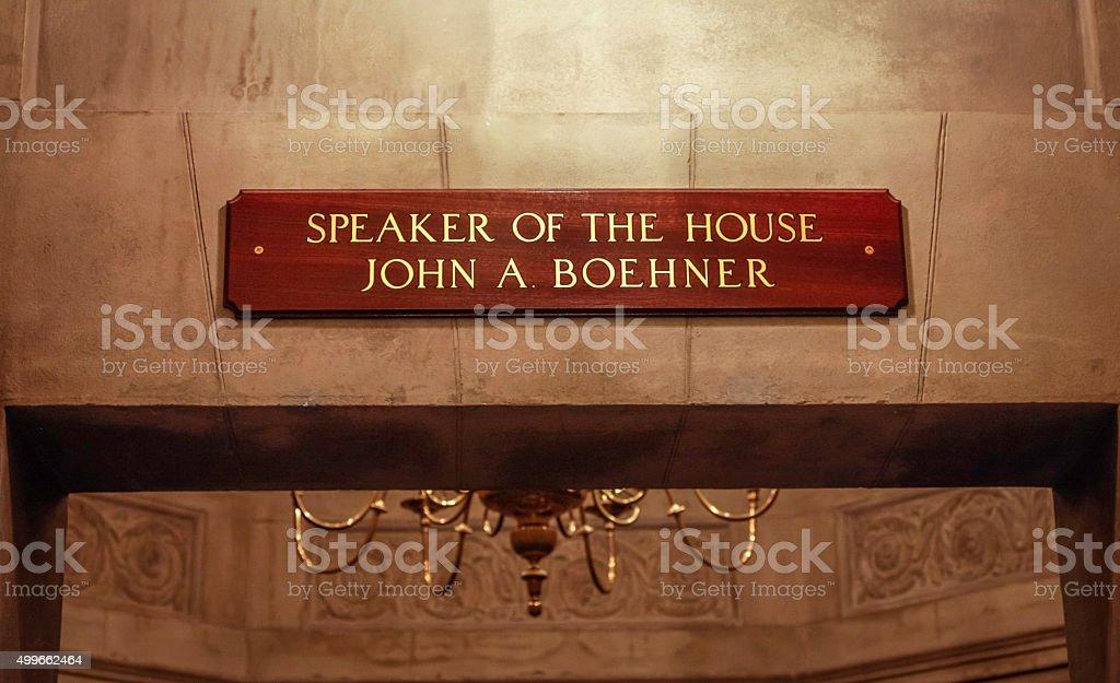 House Speaker John Boehner door plaque in the U.S. Capitol stock photo