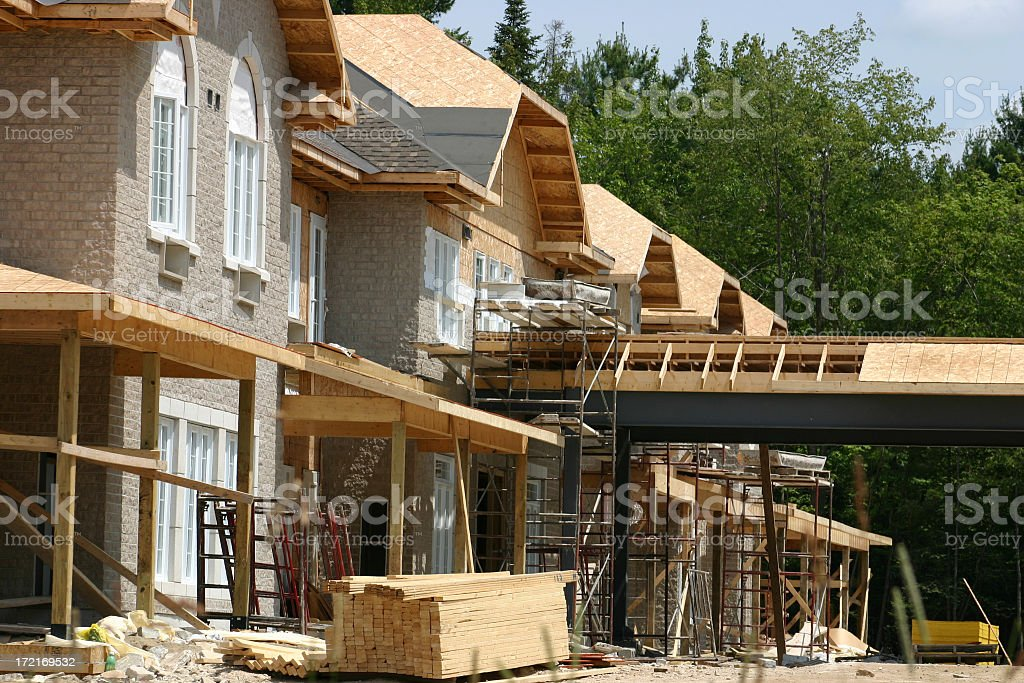 A house still under construction stock photo
