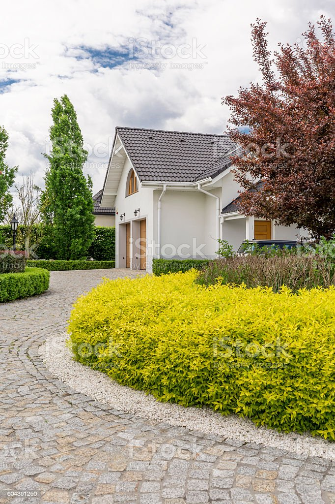 House stone pathway stock photo