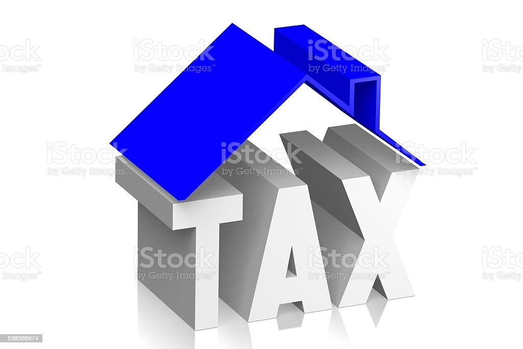 3D house tax concept stock photo