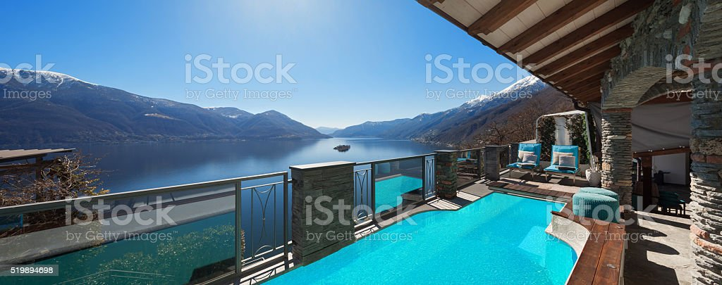House, terrace with pool stock photo