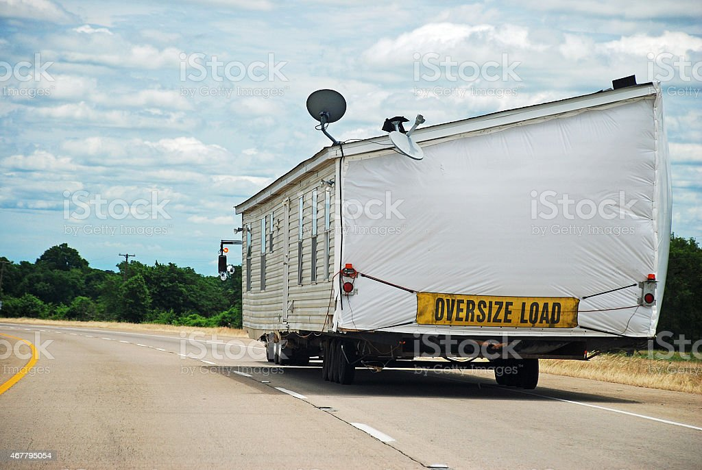 House Trailer on Interstate Highway stock photo