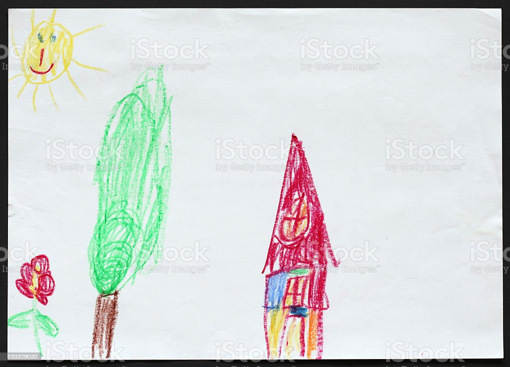 House, Tree and Flower. Child's Drawing. stock photo