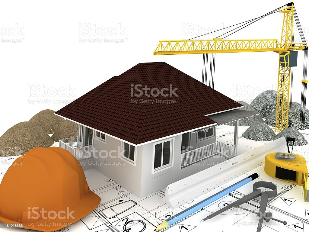 house under construction ,3d render royalty-free stock photo