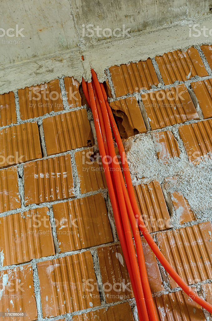 House under construction prepared for installing electricity royalty-free stock photo