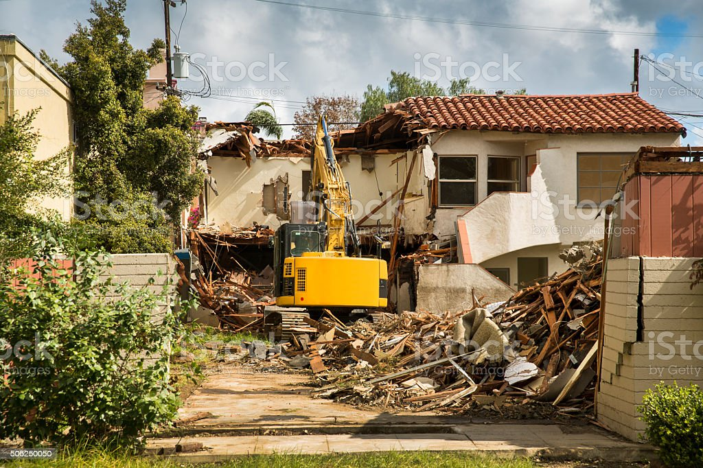 House under demolition stock photo