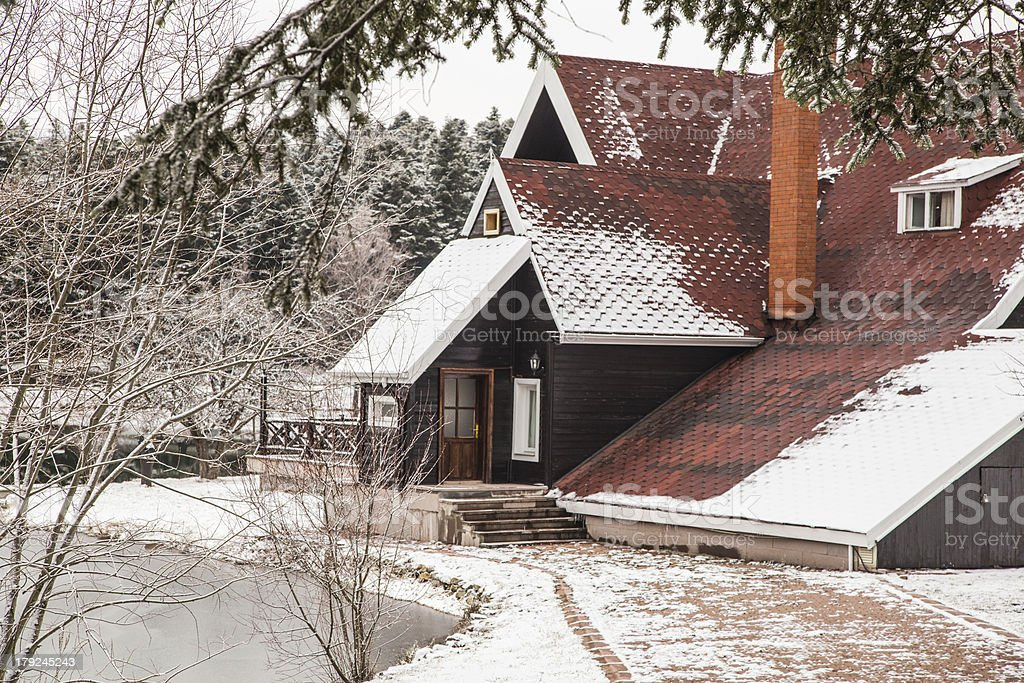 house under snow royalty-free stock photo