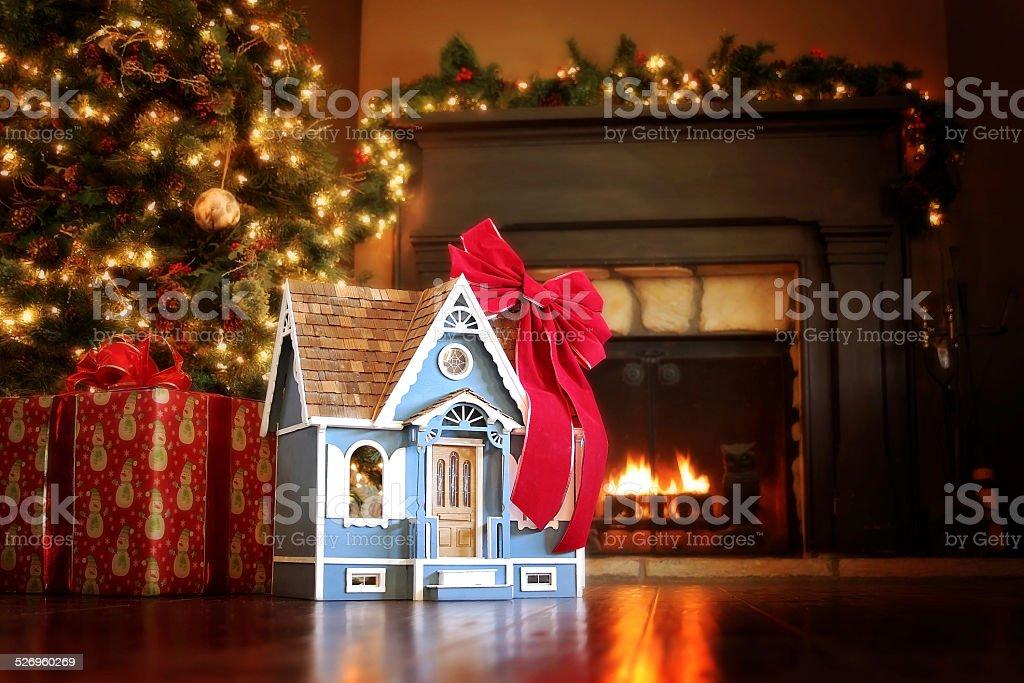 House under the Christmas tree stock photo