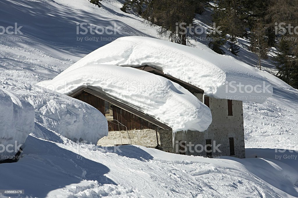 House under the snow stock photo