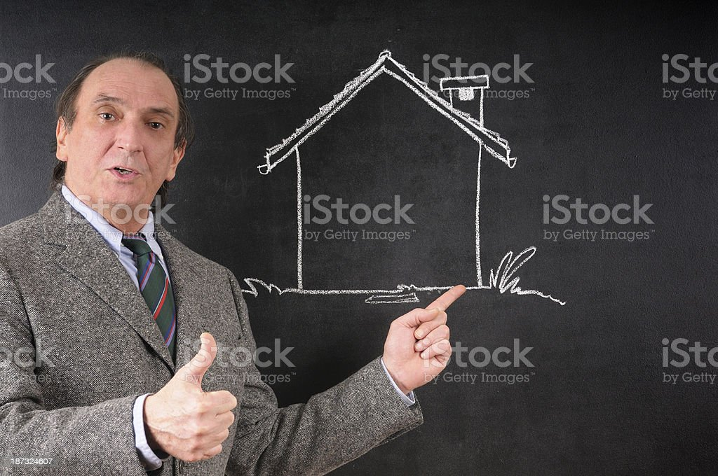 House Vendor Pointing Model Home royalty-free stock photo