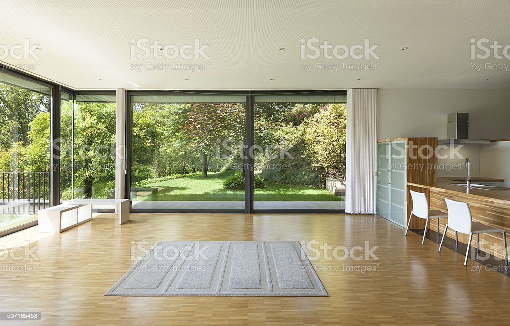 house, wide living room stock photo