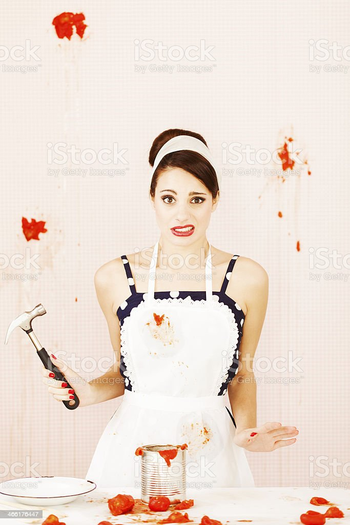 House wife in trouble, humor. stock photo