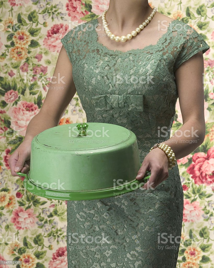 House wife with cake plate stock photo