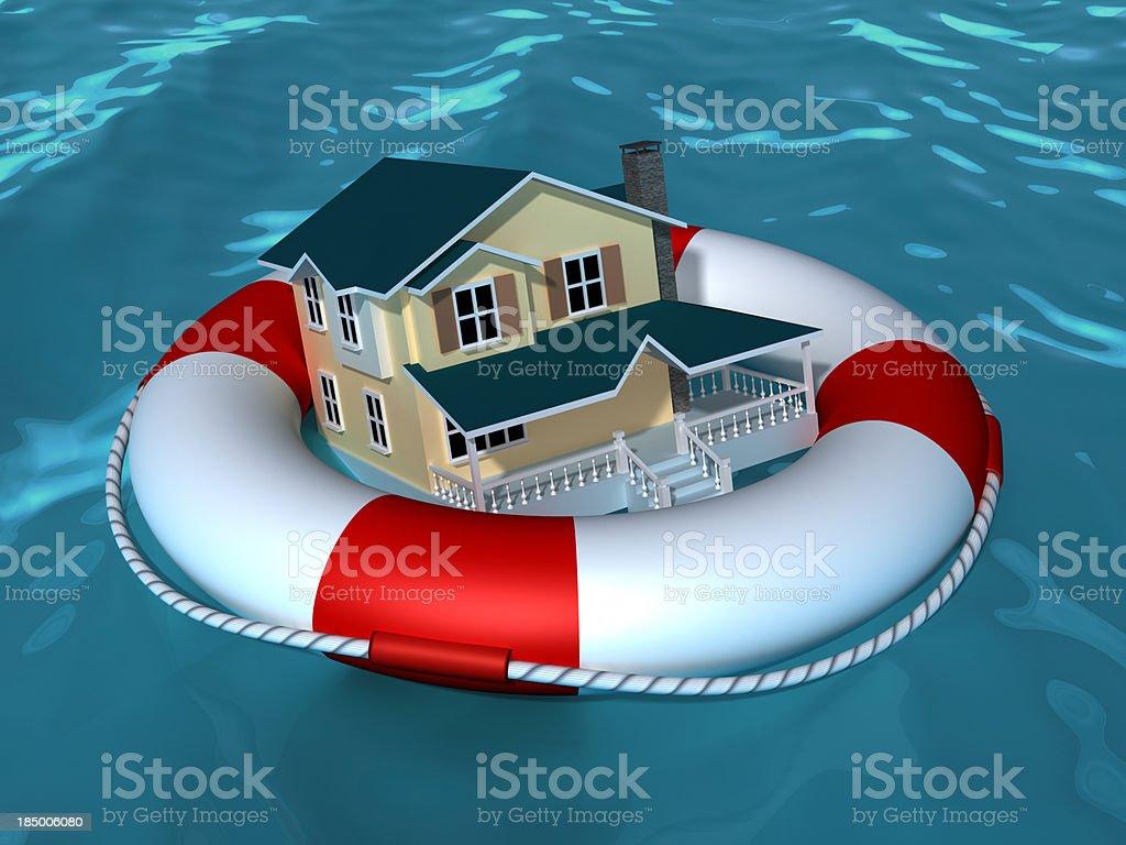 House wih life buoy stock photo