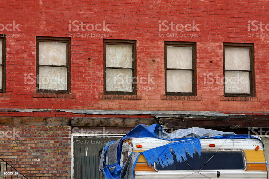 House Windows in the Back Alley royalty-free stock photo