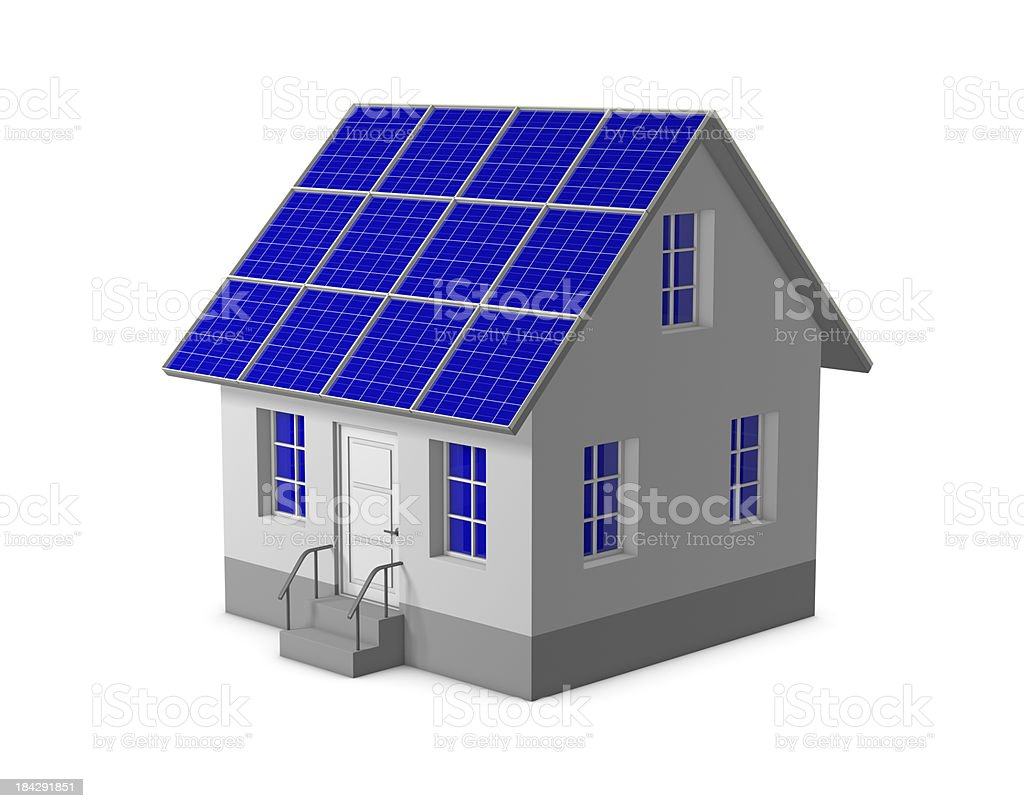 House with a solar panel royalty-free stock photo