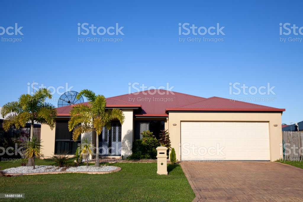House with Antenna and blue sky stock photo
